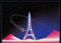 CPM - La Comète Et Paris - Fabrice Subiros - Image Réalisée Sur Palette électronique - Electro Techno Circa 1980 - Arts