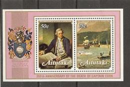 Aitutaki 1979 - James Cook - 200ème Anniversaire De Sa Mort - Bloc 25 MNH - Tableaux - Bateaux - Aitutaki
