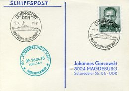 """GERMANY (DDR) 1973. Card With Ship Post MS Völkerfreundschaft"""" (People's Frienship) And Nord Africa Sail Mark - DDR"""