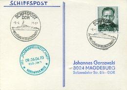 "GERMANY (DDR) 1973. Card With Ship Post MS Völkerfreundschaft"" (People's Frienship) And Nord Africa Sail Mark - [6] République Démocratique"