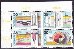 2017-0359 GDR 1980 Geophysics Complet Set Mi 2557-2560 Block Of Four With Corner Margin MNH ** - Geologie