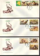 BUZIN / ZAIRE 1984 / COB 1216 à 1223 / SERIE COMPLETE / 3 FDC - 1985-.. Birds (Buzin)