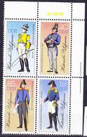 2017-0367 GDR 1986 Historic Postal Uniforms Complete Set Mi 2997-3000II Block Of 4 With Corner Margin MNH ** - Post