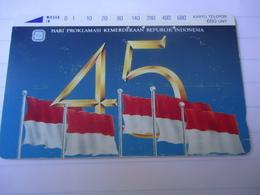 INDONESIA USED CARDS OLD UNITS 680 FLAG 2 PHOTO - Indonesia