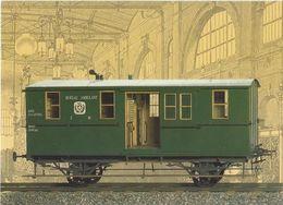 """Schweiz Suisse 1990: Postmuseum """"Bahnpost-Wagen"""" Bild-PK Aus Set - CP Illustrée - Picture-postcard Out Of 3 (CHF 0.50) - Trains"""