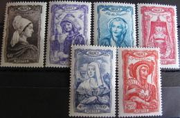 Lot FD/2196 - 1943 - COIFFES REGIONALES (SERIE COMPLETE) - N°593 à 598 NEUFS** - Cote : 17,00 € - Nuovi