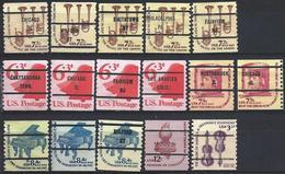 USA 1973-80 Precancels Preobliteres 16 Coil Different - Vorausentwertungen
