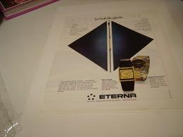 ANCIENNE PUBLICITE MONTRE ETERNA.TRAIT DE GENIE  1979 - Autres