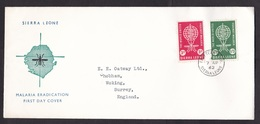 Siera Leone: FDC First Day Cover To UK, 1962, 2 Stamps, Malaria Disease, Health, Mosquito, Rare (traces Of Use) - Sierra Leone (1961-...)