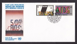United Nations UN: FDC First Day Cover, 1990, 2 Stamps, AIDS Disease, Health, SIDA (traces Of Use) - Brieven En Documenten