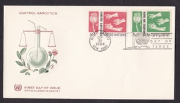 United Nations UN: FDC First Day Cover, 1964, 2 Stamps, Narcotics, Drugs, Opium, Poppy (traces Of Use) - New York - Hoofdkwartier Van De VN