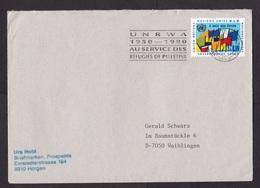 United Nations UN: Cover To Germany, 1990, 1 Stamp, Cancel UNRWA, Refugees Palestine, Palestina, Rare (traces Of Use) - Genève - Kantoor Van De Verenigde Naties