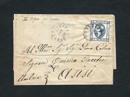 ITALIA 1863 - Busta Viaggiata Da Montepulciano Ad Assisi Con Effigie Di Vittorio Emanuele II - II Tipo - 15 C. -  Sa 15 - Storia Postale
