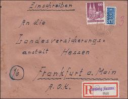 93 Wg Bauten 60 Pf Mit Notopfer EF R-Bf. Not-R-Zettel KRONBERG (TAUNUS) 14.11.49 - American/British Zone