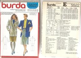 00 Patron BURDA Tailleur Veste Avec épaulettes Et Jupe Pli Creux Devant - Vintage - Loisirs Créatifs