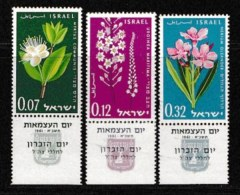 ISRAEL, 1961, Mint Never Hinged Stamp(s), Independence Day Flowers, 211-213,  Scan 17069, With Tab(s) - Israel