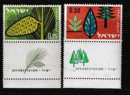 ISRAEL, 1961, Mint Never Hinged Stamp(s), Trees, 220-221,  Scan 17074, With Tab(s) - Israel