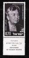 ISRAEL, 1964, Mint Never Hinged Stamp(s), Eleonor Roosevelt, 287,  Scan 17098, With Tab(s) - Israel
