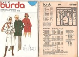00 Patron BURDA Manteau à Capuche Style Duffle Coat   - Vintage - Loisirs Créatifs