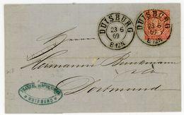 """Nr. 16 EF 1869 Aus Duisburg - Rechnung """"Bicheroux + Söhne"""" - Norddeutscher Postbezirk (Confederazione Germ. Del Nord)"""