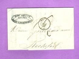 Charente Inférieure SAINTES CàD 15  Lettre De 1850 Pour Rochefort Taxe 2 Décimes Au Tampon Métal - 1801-1848: Voorlopers XIX