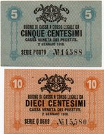 ITALIA -BUONO DI CASSA VENETA DEI PRESTITI-1918-5,10 CENTESIMI P-M1,M2-UNC - Buoni Di Cassa