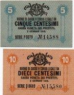 ITALIA -BUONO DI CASSA VENETA DEI PRESTITI-1918-5,10 CENTESIMI P-M1,M2-UNC - [ 5] Trésor