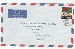 1971 MALTA COVER From C H BARTOLLI Ltd To GB Stamps - Malta