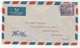 1947 MALTA COVER  HA-SO ADVERT  To GB Stamps - Malta