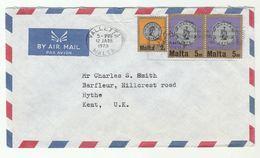 1973  MALTA COVER Multi COIN Stamps To GB - Malta
