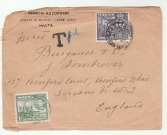 1945 MALTA Cover TAX  'T 1d'  UNDERAPAID POST DUE To GB Stamps - Malta