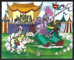 """Roumanie, Yv BF 179  Un Yankee à La Cour Du Roi Arthur** Mais Griffage Au Bas Du Timbre Niveau """" Disney Productions"""" - Disney"""