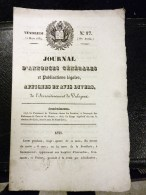 JOURNAL D'ANNONCES GENERALES VALOGNES 1834 LELEDY SAINTE-MERE-L'EGLISE HYLARION LEVERT VIERVILLE TORIGNY EXPROPRIATION - Décrets & Lois