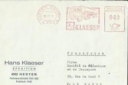 1  Enveloppe De  HANS KLAESER  Spedition A HERTEN 4352  Adressé A  FIRMA  Sté Mecanique Et Transport.en  1972 - Transport