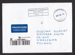 Lithuania: Registered Cover To Poland, 2008, Postage Paid Cancel, Priority Label (traces Of Use) - Litouwen