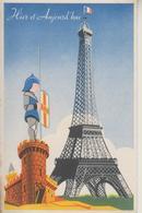D75 - PARIS - HIER ET AUJOURD'HUI - EDITION SPECIALE DES PRODUITS DU LION NOIR - CARTE FANTAISIE AVEC PUB - (VOIR SCANS) - Eiffelturm
