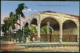 POSTCARD POSTAL NICARAGUA ESTACION Y PARQUE DE CORINTO . CISNEROS CA YEAR 1920 - Nicaragua