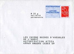 """POSTREPONSE/ LETTRE PRIO """"Les Chiens Guides D'Aveugles"""" Avec Timbre """"Marianne De Lamouche / Phil@poste"""" - Entiers Postaux"""