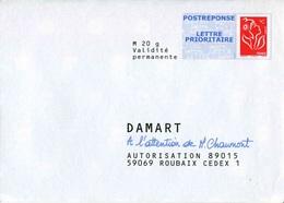"""POSTREPONSE/ LETTRE PRIO """"DAMART"""" Avec Timbre """"Marianne De Lamouche / Phil@poste"""" - Entiers Postaux"""