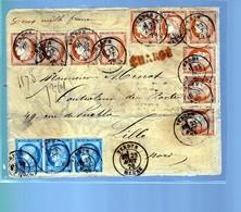 Un Ensemble De  10 Timbres Céres 40 C  Orange N° 48  Avec Bande  Une Bande De  3 T  25 C  Bleu N°60  Année  1876 - 1871-1875 Ceres