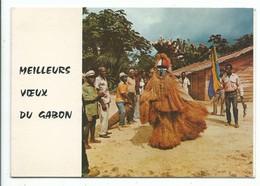 CPSM Meilleurs Voeux Du Gabon Danseur Adouma - Photo Tropic - Libreville Carte Double Format 10/15 - Gabón