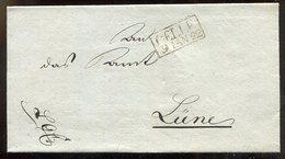Hannover / 1822 / Vorphila-Bf. R2-o CELLE, Rs. Trockensiegel (11650) - Germany