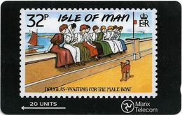 Isle Of Man - Stamps - Waiting For The Mail Boat - 6IOMC - 1990, 15.000ex, Used - Isle Of Man