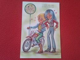 POSTAL POSTCARD CARTE POSTALE DIBUJO CARICATURA IMAGEN INFANTIL JUVENIL TRIAL MOTO PAREJA COUPLE MOTOCICLETA MOTORCYCLE - Postales