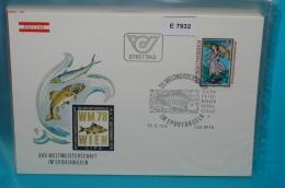FDC-E7932 25. WM Sportangeln, Angeln, Kaiser Maximilian, SSt Fisch, Wien AT 1978 - FDC