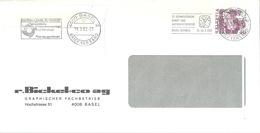 """Motiv Brief  """"Bickel, Graph.Betrieb, Basel""""  (zwei Versch Werbeflaggen)          1982 - Svizzera"""