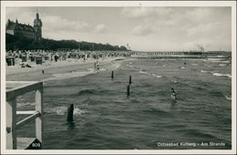 Postcard Kolberg Kołobrzeg Strand Kurhaus Strandschloß 1938 - Pommern