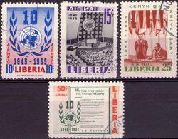 LIBERIA 1955 - ONU, NAZIONI UNITE - SERIE COMPLETA USATA - Liberia