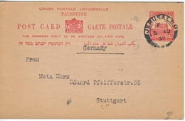 PALESTINE  POSTAL  CARD  TO GERMANY  1937 BEFORE JEWISH  EXPO. - Palestine