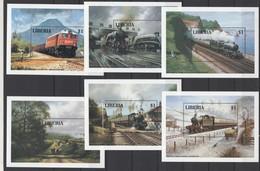 Liberia 1994 Mi Block 133-138(1604-1609) Locomotives / Locomotiven **/ MNH - Trains